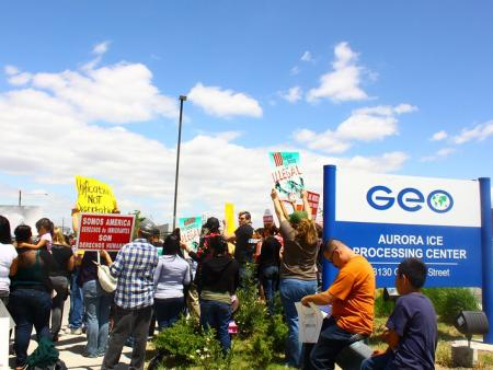 Protesters outside GEO Group detention facility