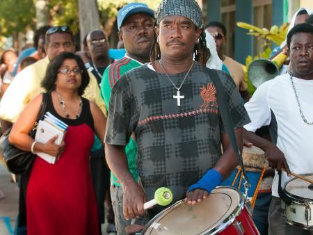 Haitian drummers at the Haitian-American Book Fair in Miami.