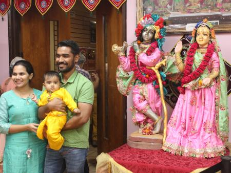 A family in New Jersey celebrates the Hindu festival of Janmashtami.