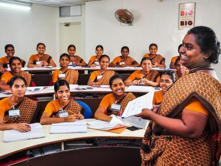 Indian nurses in a classroom