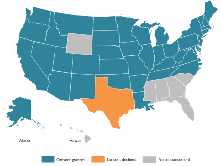 Map of state consent or lack of consent for refugee resettlement